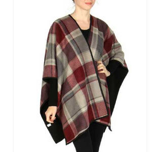New Soft plaid pattern reversible fleece Ruana